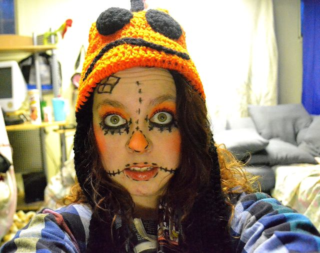 With pumpkin hat my mom made me